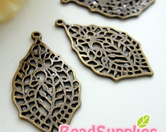 CH-ME-03272 - Nickel Free, Lead Free, Antique Brass, Filigree leaf charms,4 pcs