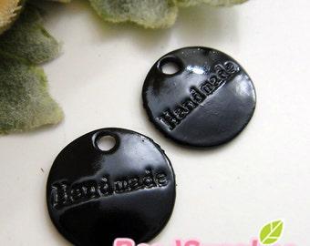 """CH-ME-01726 - Nickel Free, Lead Free, black enameled,""""handmade"""" tag charms, 6 pcs"""