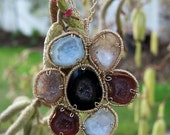 Tabasco geode flower,  coil wrapped  in 14k goldfilled, texture cable chain necklace
