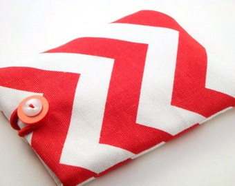 Padded Gadget Case for iPod Touch, iPhone4 or Camera-Red and White Chevron