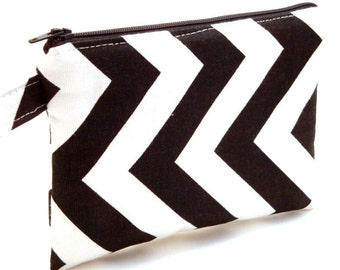 Zippered Wristlet-Black and White Chevron Fabric