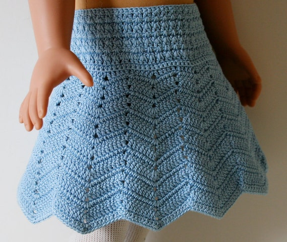 Crochet Skirt Pattern : Items similar to Crochet Chevron skirt pattern for 18 and American ...