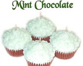 4 Mint Chocolate Mini Cupcake Candles Votive Minty Scent
