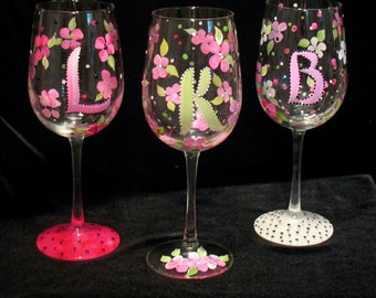 Personalized Monogram INITIAL Hand Painted Wine Glass - Dishwasher Safe