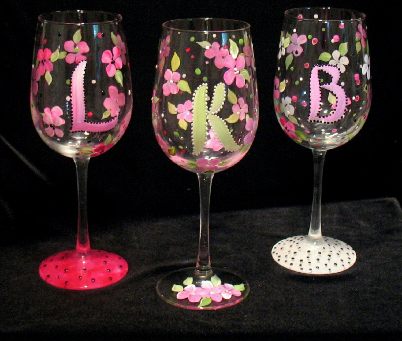 Monogrammed Hand Painted Wine Glass Bridesmaids Or Birthday