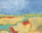 original acrylic landscape painting, river, fields, rural landscape, horizon, land, water