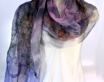 Felt Scarf-Shawl sheer cashmere-soft merino wrap on painted silk -  Lavender Black Peach