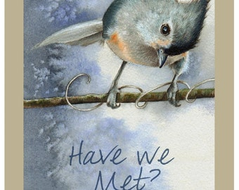 Set Of 4 Titmouse Bird Greeting Cards by Melody Lea Lamb