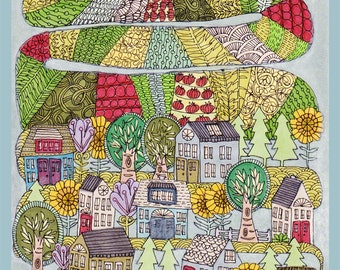 neighborhood garden archival print