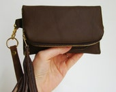 Soft Brown Leather iPhone/ iPod/ Android wallet, smart phone clutch with wrist strap