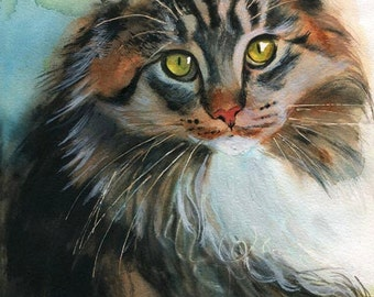 Maine Coon Tabby Cat Art Print of my Watercolor Painting