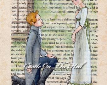 Jane Austen - Jane and Mr Bingley Pride and Prejudice Print - 5 x 7
