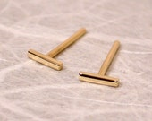 5mm x 1mm 18k Yellow Gold Studs Teeny Tiny Bar Stud Earrings 18k Jewelry by Susan Sarantos