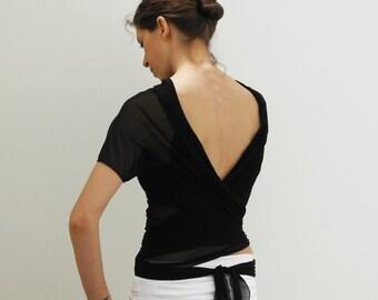 wrap black shrug, short sleeves cardigan, black mesh and jersey