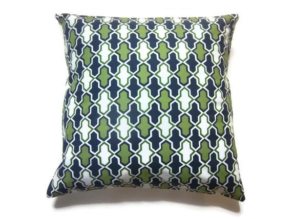 Navy Blue Decorative Bed Pillows: Two Olive Green Navy Blue White Pillow Covers Damask Design