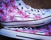 Hand Painted Pink Japanese Cherry Blossoms on Converse Chucks HI tops for Women - dreaminbohemian