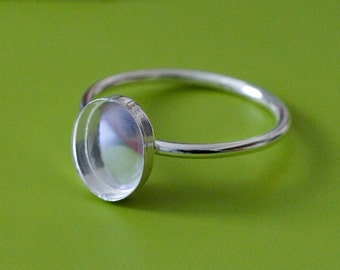One Oval 8 x 10 mm Sterling Silver Plain Bezel Cup on Ring • Size 2 to 15 • Ready for Stone or Resin • Supplies
