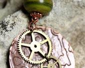IMJ Embossed Brass & Lampwork Pendant