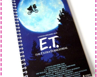 E.T. The EXTRA-TERRESTRIAL VHS Movie Original Recycled Notebook / Upcycled Journal - Spiral Bound and Eco Friendly - Vintage Circa 1988-