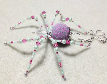 Candy - pink and pale green glass beaded spider goth sun catcher - Halloween decoration - Christmas ornament