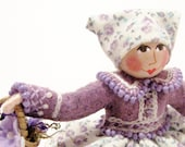 Peasant Girl Art Doll With Basket of Flowers, Hand Embroidered