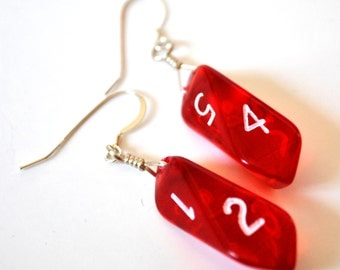 Red Dice Earrings - Six Sided D6 Crystal Shaped Dice Jewelry