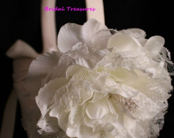 Ivory Satin Flower Girl Basket with Shabby Chic Peony Flower with Lace