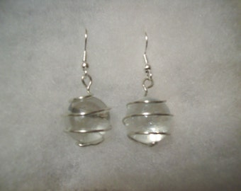 Wire-Wrapped Clear Glass Marble Wire Earrings