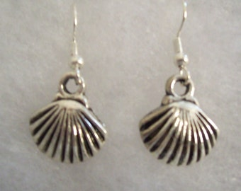 Scallop Shell Pewter Earrings with French Wires
