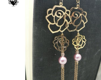 CLEARANCE SALE 30% OFF - Oriental Gold Roses Shoulder Duster Earrings