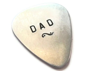DAD...  customized / personalized handstamped aluminum guitar pick