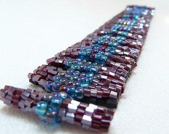 ON SALE - Garnet Glory Beadwoven Cuff Bracelet