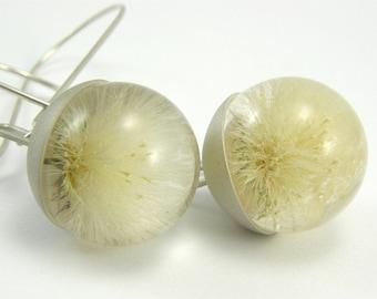 Dandelion Resin and Silver Earrings