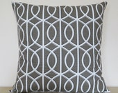 Dwell Studio Robert Allen Bella Porte throw pillow cover 18 x18 inches Accent cushion sham in gray grey.