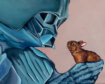PRINT- Made from original Artwork Darth Vader with small Baby Bunny Rabbit