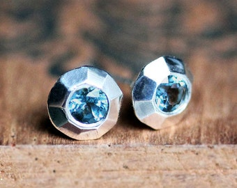 Blue topaz stud earrings, December birthstone earrings, gemstone stud earrings, holiday gift for her, tiny silver studs, ready to ship bling
