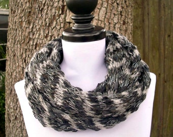Circle Scarf Infinity Scarf Knit Cowl - Infinity Cowl in Greytone Black White Grey Cowl Grey Scarf Womens Accessories - READY TO SHIP