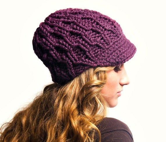 Womens Purple Newsboy Hat - Amsterdam Cable Beanie Visor in Fig Purple - Purple Hat Fall Fashion Winter Hat Knit Accessories - READY TO SHIP