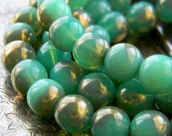 Aqua Marbles (10) -Czech Glass Druks 10mm