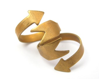 Raw Brass Arrow Adjustable Engraving Ring Findings (4X) (J608-A)