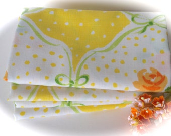 Vintage Sheet Fabric -  Fat Quarter - Tiny Cottage Roses in Orange and Yellow - Polka Dots and Ribbon