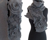 Floral Ruffled Fleece Scarf Charcoal Gray Black Large Whimsical Flowers