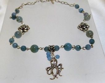 Squid and Aquamarine Chain Necklace
