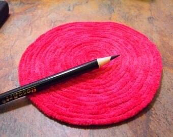 Raspberry Chenille Rug--Dollhouse sized