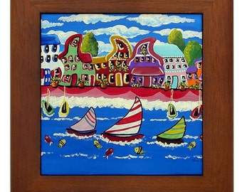 Whimsical Colorful Shoreline Sailboats Folk Art Framed Ceramic Tile
