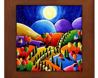 Peace on Earth Landscape Moon Colorful Whimsical Folk Art Framed Ceramic Tile