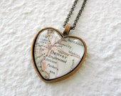 Denver Map Necklace - Denver, Colorado also featuring Golden, Littleton, and Englewood - Choose from 25 maps