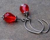 Ruby Red Crystal Teardrop Earrings, Oxidized Sterling Silver, Handmade Hammered Almond Earwires, Red Dangle Earrings for July