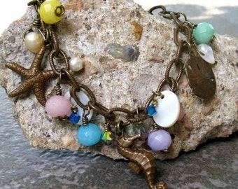 Pastel Sea Charms Bracelet, Vintaj Brass Toggle Clasp, Charms & Textured Chain, Gemstones Freshwater Pearls, Summer Beach Jewelry