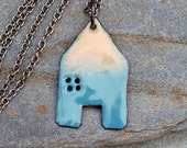 Enamel House Necklace Pendant Copper Home Enameled Jewelry - Green Blue and Tan